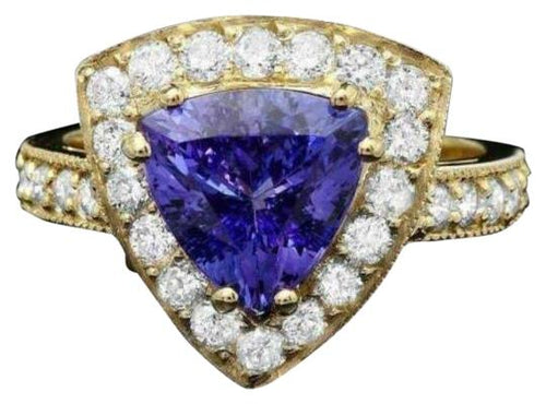 4.00 Carats Natural Very Nice Looking Tanzanite and Diamond 14K Solid Yellow Gold Ring