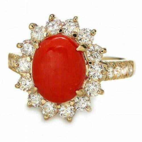 4.00 Carats Impressive Coral and Diamond 14K Yellow Gold Ring
