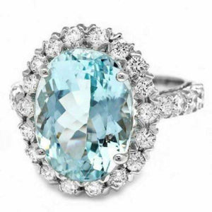 8.65 Carats Natural Impressive Natural Aquamarine and Diamond 14K White Gold Ring