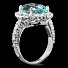 Load image into Gallery viewer, 8.65 Carats Natural Impressive Natural Aquamarine and Diamond 14K White Gold Ring