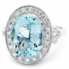 Load image into Gallery viewer, 7.55 Carats Natural Impressive Natural Aquamarine and Diamond 14K White Gold Ring