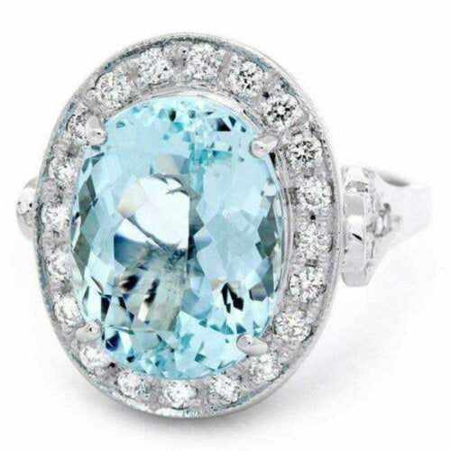 7.55 Carats Natural Impressive Natural Aquamarine and Diamond 14K White Gold Ring