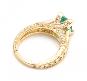 2.60 Carats Natural Emerald and Diamond 14K Solid Yellow Gold Ring