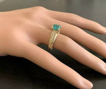 Load image into Gallery viewer, 2.60 Carats Natural Emerald and Diamond 14K Solid Yellow Gold Ring