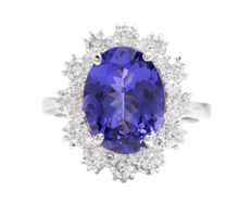 Load image into Gallery viewer, 6.30 Carats Natural Very Nice Looking Tanzanite and Diamond 14K Solid White Gold Ring
