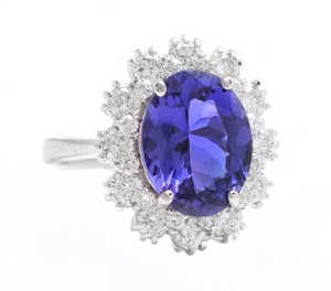 6.30 Carats Natural Very Nice Looking Tanzanite and Diamond 14K Solid White Gold Ring
