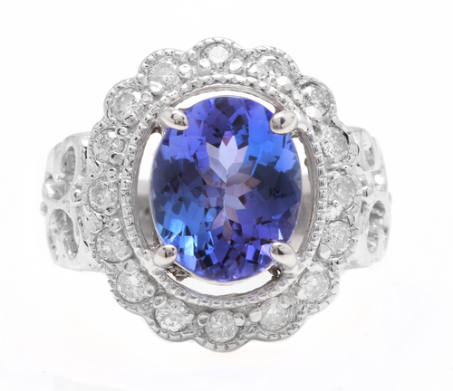5.75 Carats Natural Very Nice Looking Tanzanite and Diamond 14K Solid White Gold Ring