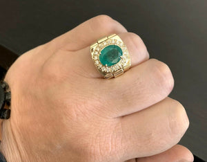 6.20 Carats Natural Emerald and Diamond 14K Solid Yellow Gold Men's Ring