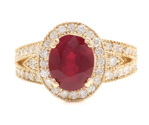 7.15 Carats Red Ruby and Natural Diamond 14k Solid Yellow Gold Ring