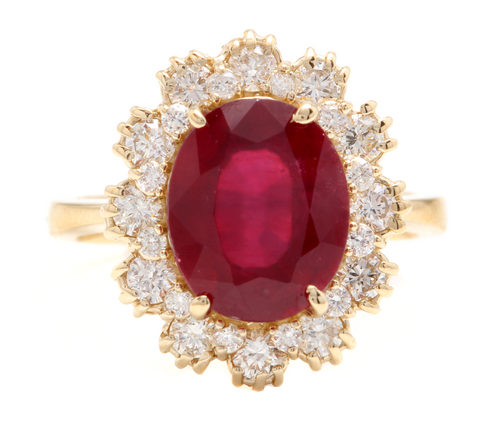 7.20 Carats Impressive Natural Red Ruby and Diamond 18K Yellow Gold Ring