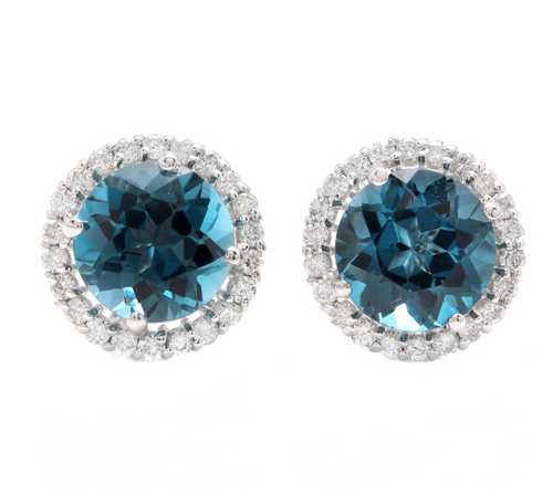 5.00 Carats Natural London Blue Topaz and Diamond 14K Solid White Gold Stud Earrings