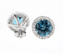 Load image into Gallery viewer, 5.00 Carats Natural London Blue Topaz and Diamond 14K Solid White Gold Stud Earrings