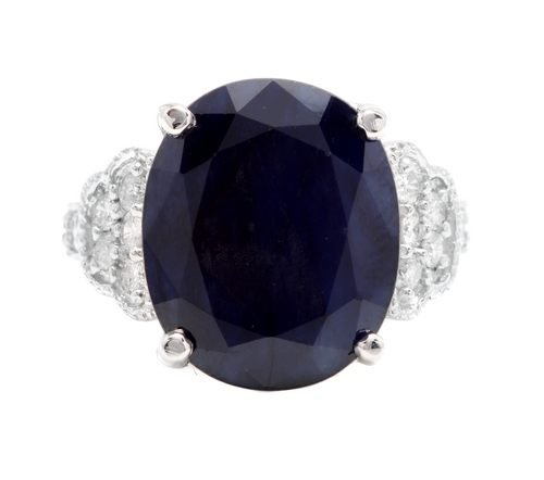 14.60 Carats Exquisite Natural Blue Sapphire and Diamond 14K Solid White Gold Ring