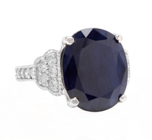 Load image into Gallery viewer, 14.60 Carats Exquisite Natural Blue Sapphire and Diamond 14K Solid White Gold Ring