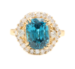7.00 Carats Natural Very Nice Looking Blue Zircon and Diamond 14K Solid Yellow Gold Ring