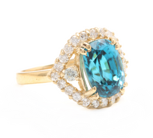 Load image into Gallery viewer, 7.00 Carats Natural Very Nice Looking Blue Zircon and Diamond 14K Solid Yellow Gold Ring