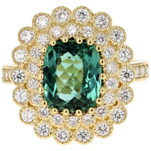 4.45 Carats Natural Very Nice Looking Green Tourmaline and Diamond 14K Solid Yellow Gold Ring