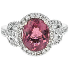 Load image into Gallery viewer, 4.10 Carats Natural Very Nice Looking Tourmaline and Diamond 14K Solid White Gold Ring