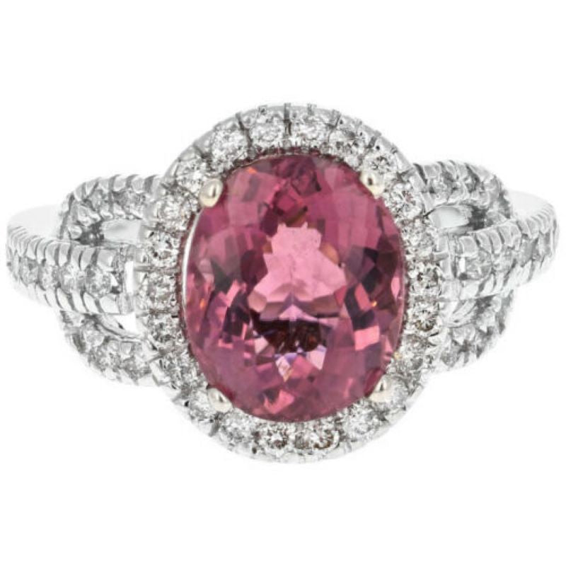 4.10 Carats Natural Very Nice Looking Tourmaline and Diamond 14K Solid White Gold Ring