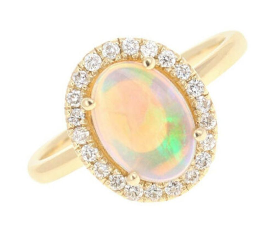 1.75 Carats Natural Impressive Ethiopian Opal and Diamond 14K Solid Yellow Gold Ring