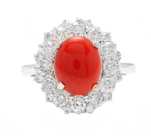 3.30 Carats Impressive Coral and Diamond 14K White Gold Ring