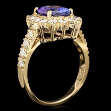 Load image into Gallery viewer, 3.85 Carats Natural Very Nice Looking Tanzanite and Diamond 14K Solid Yellow Gold Ring
