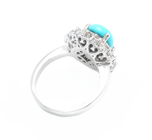 3.50 Carats Impressive Natural Turquoise and Diamond 14K White Gold Ring