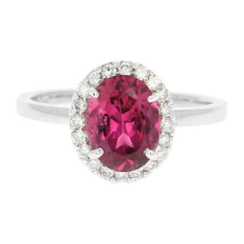 2.25 Carats Natural Very Nice Looking Tourmaline and Diamond 14K Solid White Gold Ring