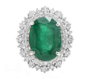 9.60 Carats Natural Emerald and Diamond 14K Solid White Gold Ring