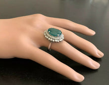 Load image into Gallery viewer, 9.60 Carats Natural Emerald and Diamond 14K Solid White Gold Ring