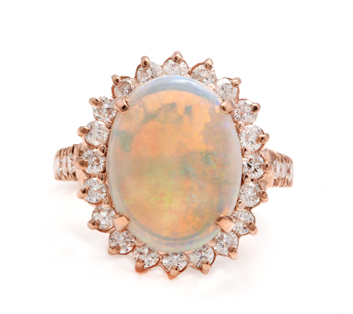 7.30 Carats Natural Impressive Australian Opal and Diamond 14K Solid Rose Gold Ring