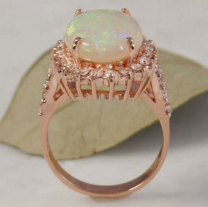 6.80 Carats Natural Impressive Australian Opal and Diamond 14K Solid Rose Gold Ring