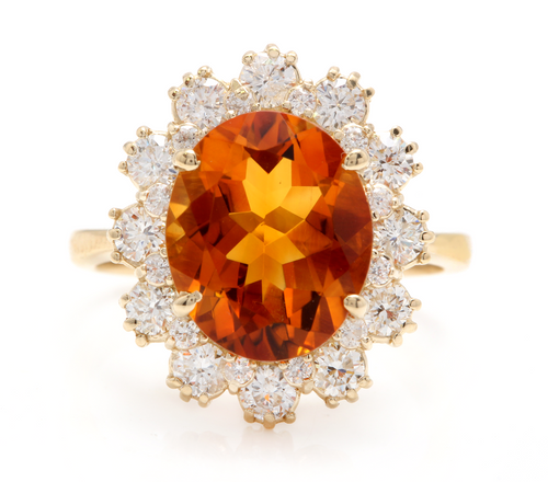 7.15 Carats Exquisite Natural Madeira Citrine and Diamond 14K Solid Yellow Gold Ring