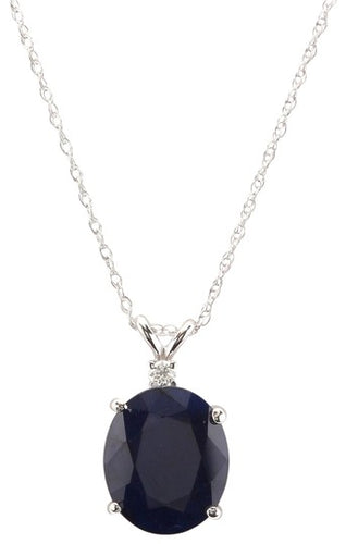 8.55Ct Natural Sapphire and Diamond 14K Solid White Gold Necklace