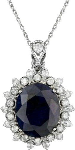 9.30Ct Natural Sapphire and Diamond 14K Solid White Gold Necklace