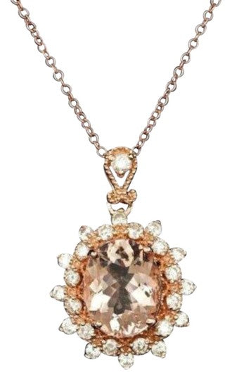 3.65Ct Natural Morganite and Diamond 14K Solid Rose Gold Necklace