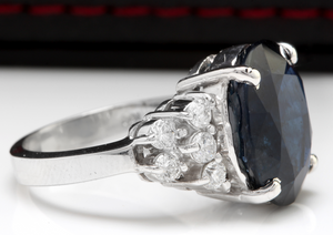 10.70 Carats Exquisite Natural Blue Sapphire and Diamond 14K Solid White Gold Ring