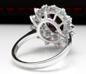 3.60 Carats Natural Amethyst and Diamond 14K Solid White Gold Ring