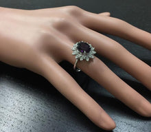 Load image into Gallery viewer, 3.60 Carats Natural Amethyst and Diamond 14K Solid White Gold Ring