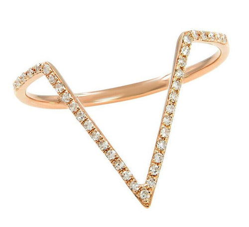 Splendid 0.15 Carats Natural Diamond 14K Solid Rose Gold Ring