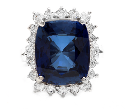 12.75 Carats Lab Created Ceylon Blue Sapphire and Natural Diamond 14K Solid White Gold Ring