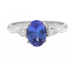 1.86 Carats Natural Very Nice Looking Tanzanite and Diamond 14K Solid White Gold Ring
