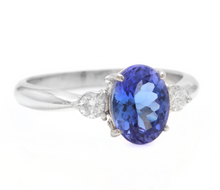 Load image into Gallery viewer, 1.86 Carats Natural Very Nice Looking Tanzanite and Diamond 14K Solid White Gold Ring