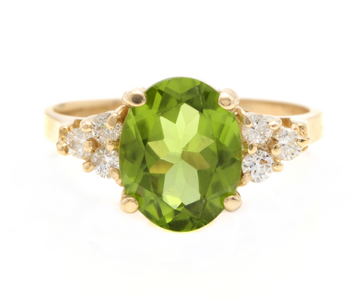 3.25 Carats Impressive Natural Peridot and Diamond 14K Yellow Gold Ring