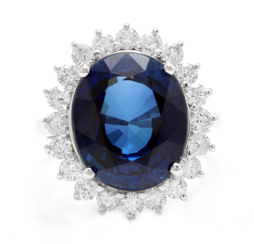 12.05 Carats Lab Created Ceylon Blue Sapphire and Natural Diamond 14K Solid White Gold Ring