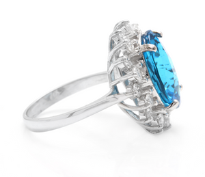 11.05 Carats Impressive Natural Swiss Blue Topaz and Diamond 14K Solid White Gold Ring