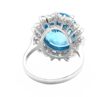 Load image into Gallery viewer, 11.05 Carats Impressive Natural Swiss Blue Topaz and Diamond 14K Solid White Gold Ring
