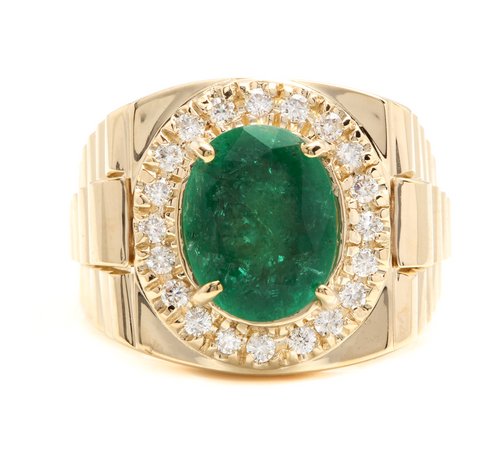 5.70 Carats Natural Emerald and Diamond 18K Solid Yellow Gold Men's Ring