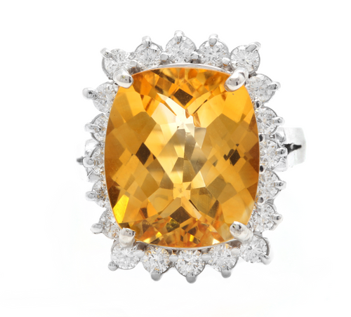 8.75 Carats Natural Very Nice Looking Citrine and Diamond 14K Solid White Gold Ring