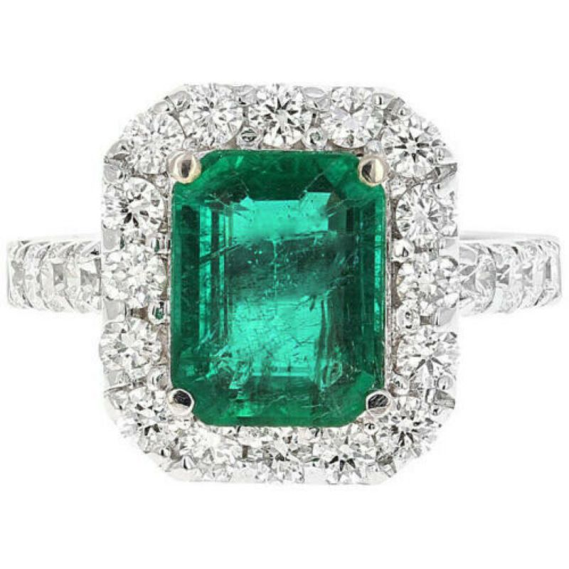 4.30 Carats Natural Emerald and Diamond 18K Solid White Gold Ring